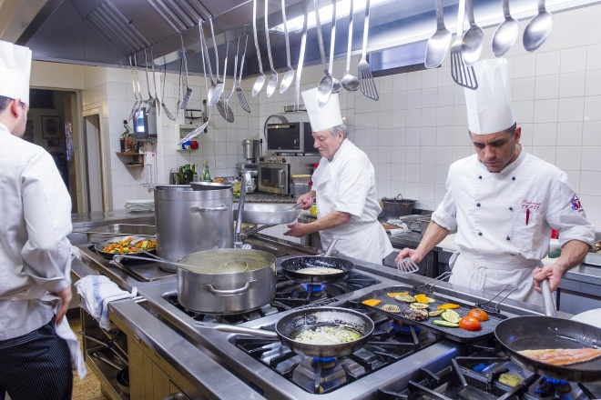 The ingredients, carefully selected by the expert chefs Vittorio and Massimiliano, are stored and prepared in a state of the art kitchen.